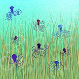 abstract vector underwater background with octopuses and bubbles