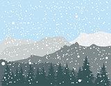 Vector Winter Mountains