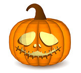 Pumpkin head on a white background for decoration of any holiday graphics for the Halloween holiday.
