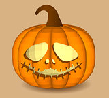 Head-pumpkin on a beige background for decoration of any holiday graphics for the holiday Halloween.
