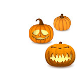 A set of pumpkins on a white background for decoration of any holiday graphics for the Halloween holiday.