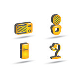 three dimensional house equipment icon set