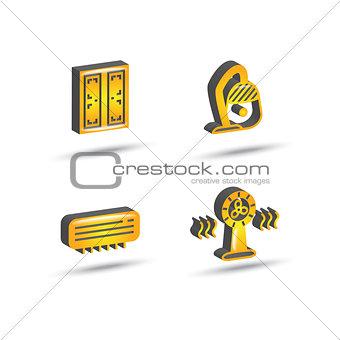 three dimensional house equipment icon set