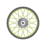 Black metallic bicycle wheel with green spokes