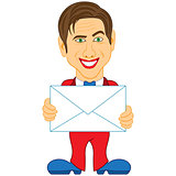 Gentleman holds a glued envelope