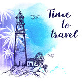 Travel background with lighthouse