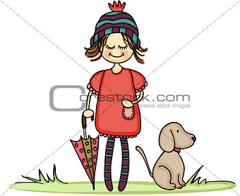 Autumn girl with little dog