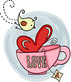Love tea cup and bird