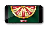 Gold realistic wheel of fortune with smartphone isolated on white. 3d Casino online lucky roulette vector illustration