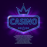 Banner with neon frame. Casino frame neon bright banner on dark background. Bright vegas casino advertisement template. Vector illustration