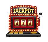 Red slot machine wins the jackpot Isolated on white background. Casino big win slot machine vector illustration