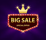Big sale discount banner with red lights frame vector illustration. Frame banner big sale, promotion offer with gold crown