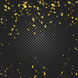 Gold confetti falling and ribbons on black transparent background vector illustration. Party, festival, fiesta design decor poster element.