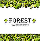 Forest green line art trees background vector illustration template print for brochure, card, poster, booklet cover