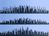 Vector isolated silhouette of big city town, skyscrapers building, business centers. Twilight, blue sunset, panorama of the city on the horizon, urban design vector illustration.