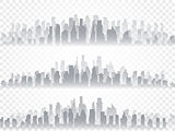 Vector isolated silhouette set of big city town, skyscrapers building, business centers. Twilight, blue sunset, panorama of the city on the horizon, urban design vector illustration.