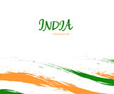 Independence day of India watercolor sign on white background with flag in a national color. Indian national three color flag symbol vector illustration. August 15 holiday banner.