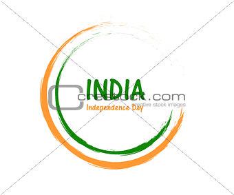 Circular outline brush stroke green, white, orange color vector background template.