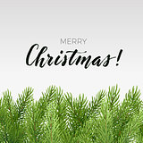 Simple Christmas design with spruce branches and lettering on a light background. Vector illustration.