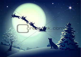 Santa in night sky against background of full moon. Dog silhouette looks up at sky. Christmas greeting card template