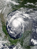 Hurricane Harvey viewed from space. Elements of this image are furnished by NASA