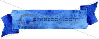 Watercolor dark blue ribbon