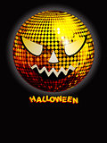 Halloween disco ball with decorative text on black