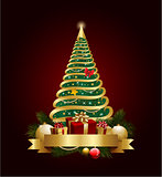 Golden decorative christmas tree with banner and decorations