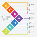 Business infographics template 7 steps with square