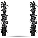 frame pillar with birds and roses