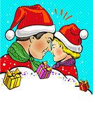 Father and son Christmas pop art comic vector