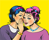 Pop art girls share secrets pin up pop art comic style