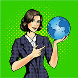 Cartoon of a woman holding a globe pop art comic
