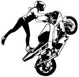 Motorbike Girl On The Rear Wheel
