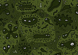 Hand drawn seamless bacterium pattern. Vector illustration