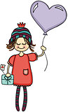 Adorable girl with heart balloon and gift