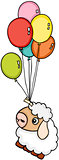 Cute sheep flying with balloons