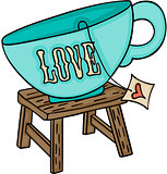 Love cup of tea on top wooden stool