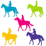 Colorful silhouettes of horse riders