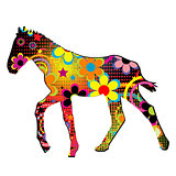 Foal silhouette with flowers and dots pattern