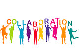 Men and women colorful silhouettes holding word COLLABORATION in
