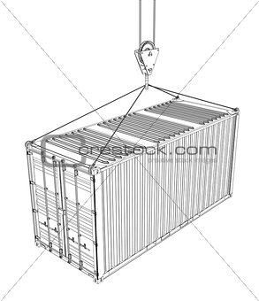 Cargo container hanging on hook of crane