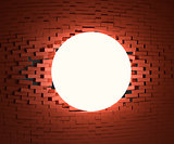 A glowing ball smashed the brick wall