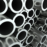 Stack of steel pipes. 3D Illustration
