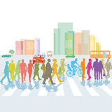 Group of people on the pedestrian crosswalk. illustration