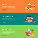 Template design horizontal web banners for food.