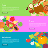 Template design horizontal web banners for nuts, fruits and vegetables.