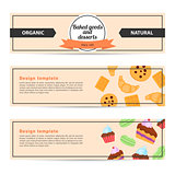 Template design horizontal flyer for baked goods and desserts.