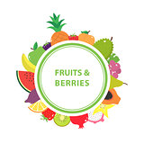 White poster with the name and with fruits and berries in the background.