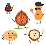 Set of funny characters from sports nuts